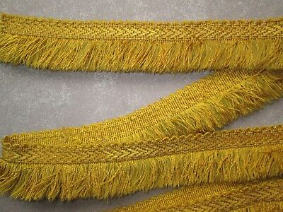 Vintage old gold yellow pure silk fringe trimming