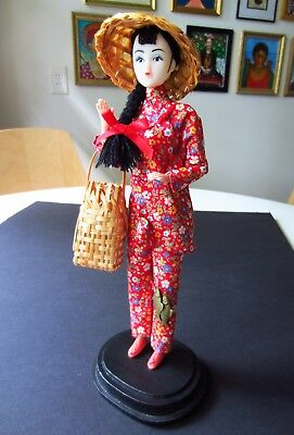 Vintage China Doll Peasant Girl Chinese Figurine Statue Asian Barbie Doll