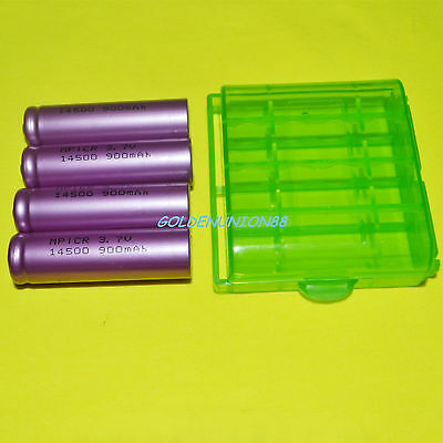 4X 3.7V Li-ion ICR14500 900mAh battery +1pc plastic case AA size for flash light