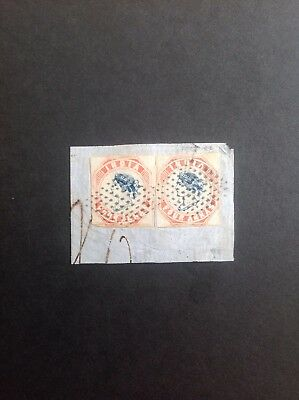 India 1854 QV two 4a blue & red (cut square) on piece  very fine used -rare item