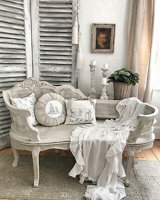 FRENCH STYLE SHABBY Chic Vintage Painted Chaise Lounge Bench Cane ...