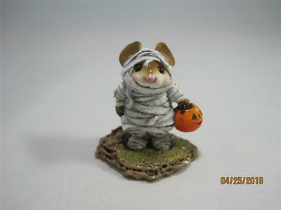 Wee Forest Folk The Mummy White Wraps - Halloween Mouse WFF Not Perfect