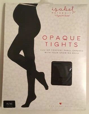 Ingrid & Isabel Women's Maternity Opaque Tights S/M Hosiery Black #1534