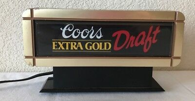 Vintage Coors Extra Gold Draft Lighted Top of Register Sign Bar Man Cave Beer GC