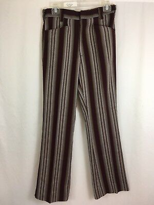 Vintage 60s 70s Hippie Boho Striped Polyester High Rise Retro Pants 29 X 31