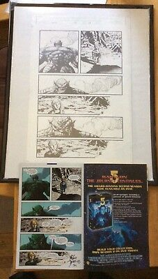 Mike Deodato Original Art Work Page With Auto Comic Hulk #53 Philly Comic Con