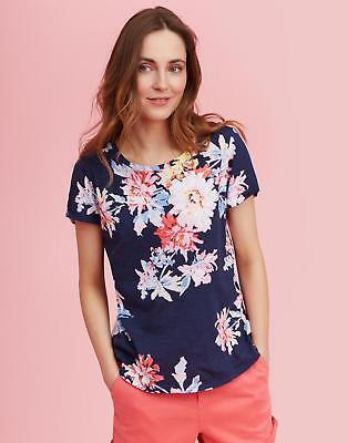 Joules Womens Nessa Print Jersey T shirt 12 in NAVY WHITSTABLE FLORAL Size 12