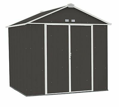 Arrow EZEE Shed Steel Storage Shed High Gable Charcoal w/Cream Trim 8ft x 7ft