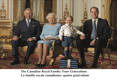 Royal Family: Four Generations Postcard Queen Elizabeth Prince George William