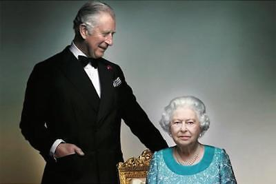 Royal Family: Queen Elizabeth II And Prince Charles Postcard 90th Birthday
