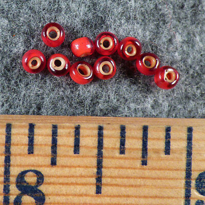 Original Sioux Indian Cherry Red White Heart Trade Beads Venetians 1700's