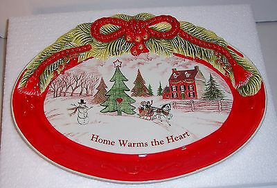 """Fitz And Floyd Home Warms The Heart Cookie Platter 13"""" Original Box Never Used"""
