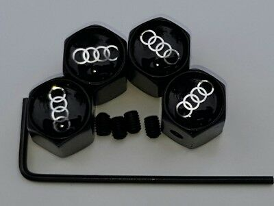 Audi logo black alloy wheel tyre Valve dust Caps set of 4 lockable anti theft