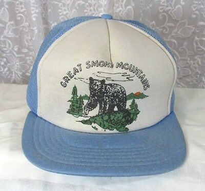 VTG Mesh Snapback Trucker Hat Great Smoky Mountains National Park Bear TN NC c5f1fd840114