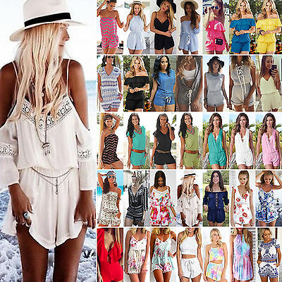 Womens Holiday Mini Playsuit Ladies Jumpsuit Romper Summer Beach Sun Dress 6-14