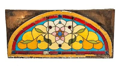 1880's Salvaged Chicago Interior Residential Oversized Stained Glass Window