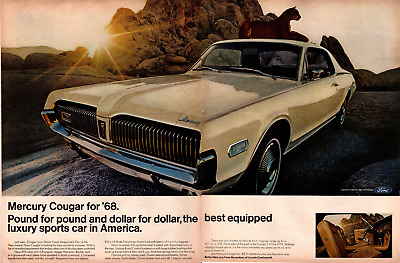 Life Magazine Advertisement 1968 Mercury Cougar 2 Page AD   A260