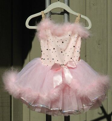 Kids Pink Revolution Dancewear Girls Sz SC Small Child Feather Trim Dance Dress