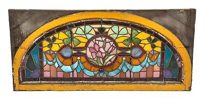 Residential Salvaged Chicago Mansion Oversized Stained Glass Lunette Window