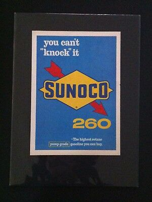 1960's Sunoco Gas & Oil  ad print 11x 15 mounted  gift Ford Chevy Olds Dodge GTO