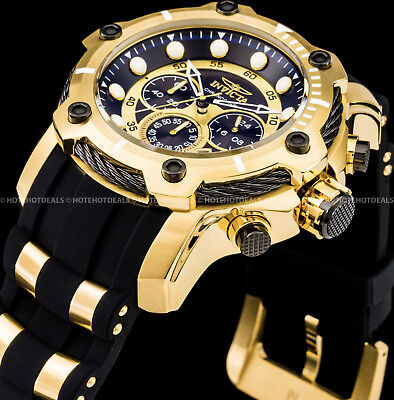 Invicta Men's 51mm Bolt Chronograph Black Dial Gold Plated Stainless St PU Watch