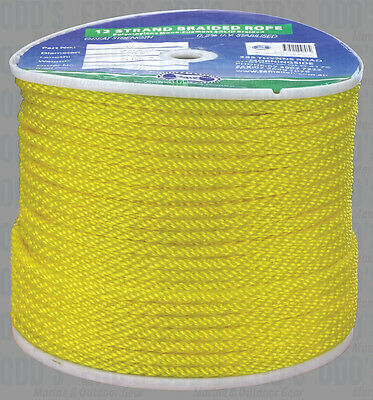 Rope 8mm Yellow Solid Braid Rope x 200m, Ski Rope