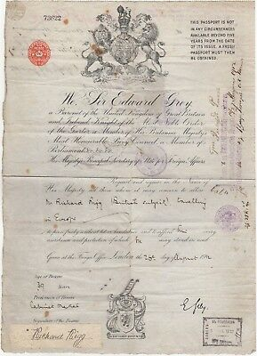 Russia: Early UK Paper Passport for Europe with Many Russian Visa Marks/Stamps