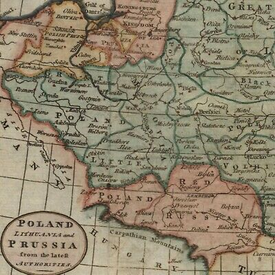 Poland Lithuania Prussia c.1783 Kitchin engraved old map w/ decorative cartouche