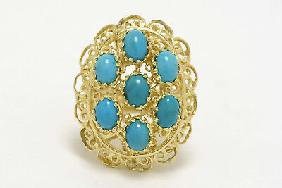 Persian Turquoise Yellow Gold Twisted Rope Big Cocktail Ring Brutalist Byzantine