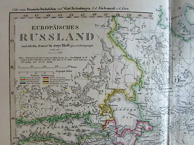 Russia Finland Estonia Pleskow Ladaga Sea Wilno 1860 Stulpnagel scarce old map