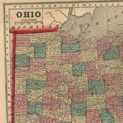 Ohio state 1858 Gaston antique U.S. state map old hand color