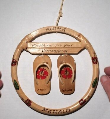 Vintage? Mahalo Please Remove Slippers/shoes Sign/plaque Aloha Hawaii Flip-Flops