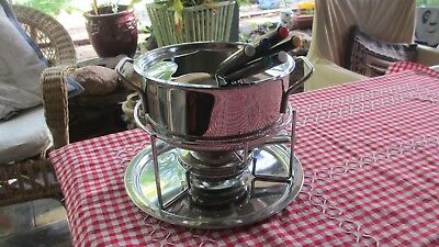 Stainless Steel Fondue set Pot with Lid,Stand, Metho Burner ,Tray ,6  forks