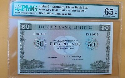 NORTHERN IRELAND 1982 50 POUNDS P-329a GEM UNC PMG 65 EPQ