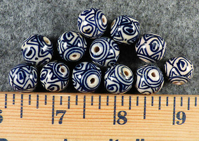 "(1) 1700's Huron Indian ""Blanket"" bead or Blue Delft Trade Bead Early Trade Bead"