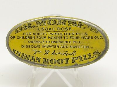 Dr. Morse Indian Root Pills Tin Medicine Antique Advertising Drug Pharmacy Small