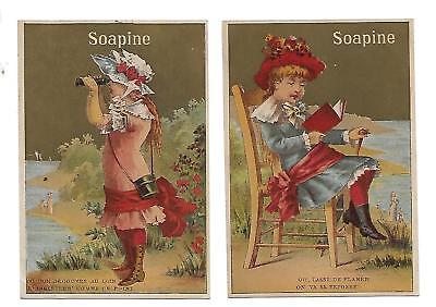 """Soapine Soap Set Of 2 Victorian Trade Cards """"soapine"""" Girls By Lake"""