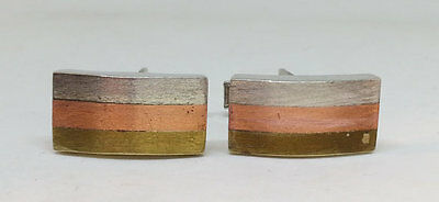Taxco Tri Color Sterling Silver Brass Copper Cufflinks, Mixed Metal Jewelry