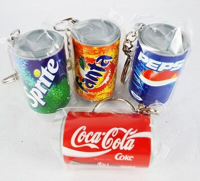 4 Small Cans Coke Pepsi Fanta Sprite 4Cm Miniature Collectible Key Chain Keyring