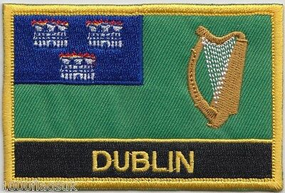 Dublin City Ireland Flag Embroidered Patch - Sew or Iron on