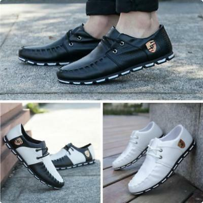 Men's Fashion Casual Shoes PU Leather Lace up Driving Moccasins Sneakers B