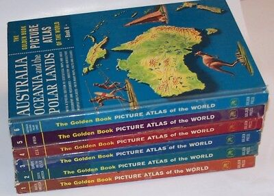 Vintage 1960 The Golden Book Picture Atlas of the World 6 Volume Hardcover Set