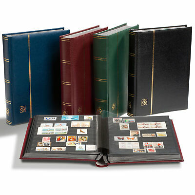 Lighthouse A4 PREMIUM Stockbook with 64 Page - Padded Leather Cover - BLUE
