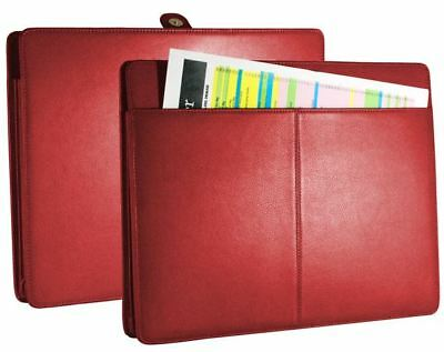(NEW) Genuine Leather Accordion File Folder Red