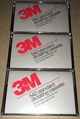 Lot of 3 New 3M 542 Standard Dictating Cassette Tapes Brand New Sealed