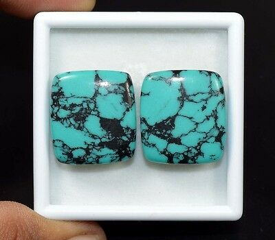 Pair 40.55 Cts. Treated Turquoise Cushion Cabochon Loose Gemstones Platinum_Gems
