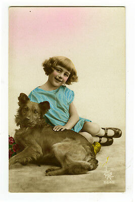 1920's Vintage Smiling Young GIRL w/ HER DOG antique photo postcard