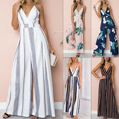 UK Womens Ladies V-neck Wide Leg Trouser Long Jumpsuit Summer Clubwear Culottes