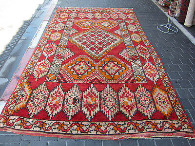 ORIGINAL ANTIQUE MOROCCAN WOOL CARPET RUG HAND MADE 320x175-cm/125.9x68.8-inches