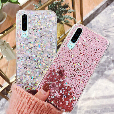 For Huawei Mate 20 P20 Lite Pro Bling Sequin Slim Shockproof Rubber Case Cover